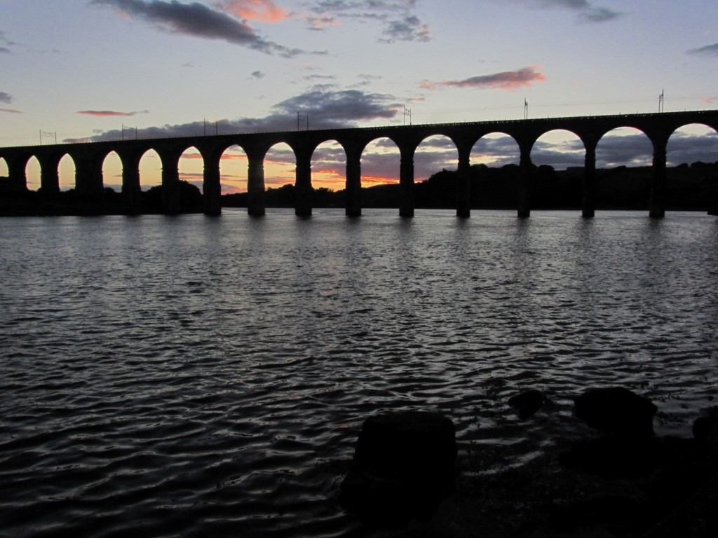 The Royal border Bridge carries the East Coast main line railway over the River Tweed seen here at sunset.