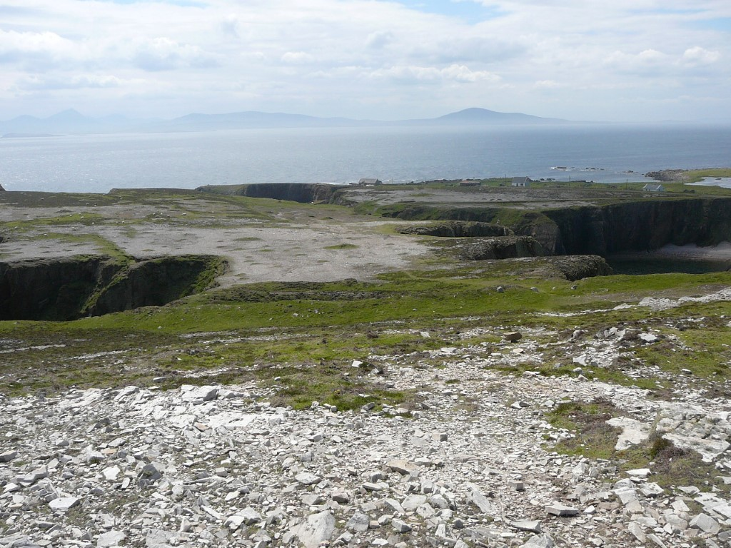 This picture shows just how thin the soil is on the island. The coast of Donegal can be seen in the distance.