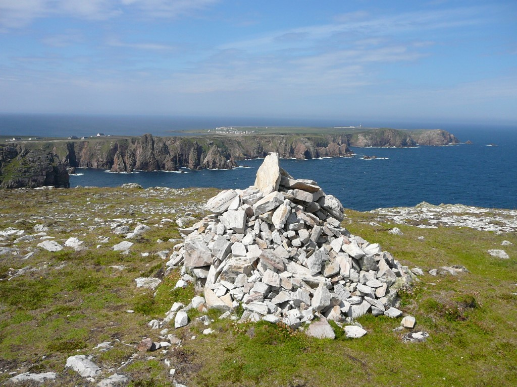 The highest point on the island is marked by this cairn and looks west along the length of the island.