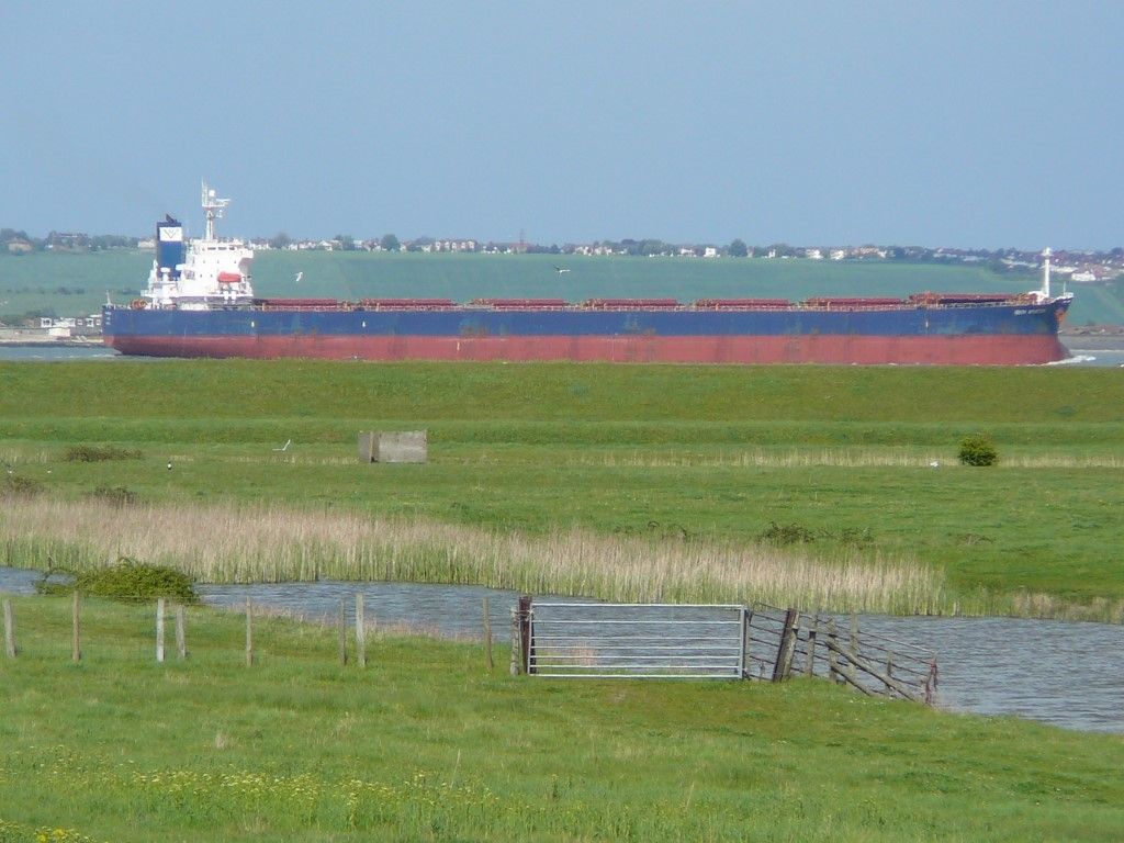 'Sailing across the fields'. This large ship is outward bound towards the Thames Estuary.