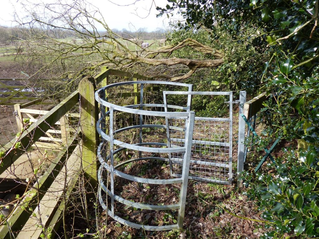 A fallen tree is blocking the footpath beyond the kissing gate. It is the responsibility of the landowner to remove the obstruction, but if they do not act then Cheshire East Council can remove the obstruction and charge the cost to the landowner.